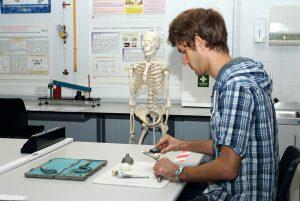 Progettista di protesi d'anca al lavoro